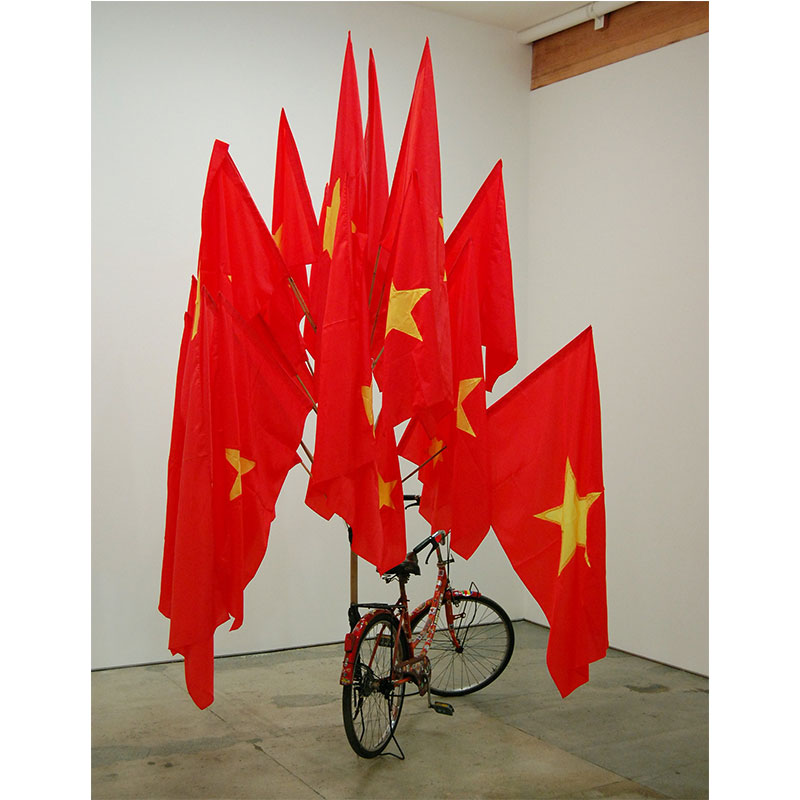 """The Infrastructure of Nationalism , 2009 bicycle, bamboo, rubber and cloth approximately 96 x 72 x 65"""" Edition of 3, 1AP  Inquire >"""