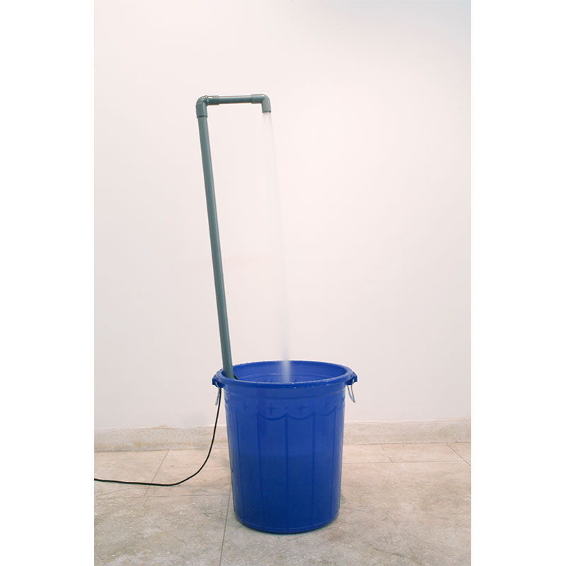 """The Fountain - for BN , 2009 plastic bucket, pvc, pump, water 53.5 x 22 x 22"""" Edition of 3  Inquire >"""