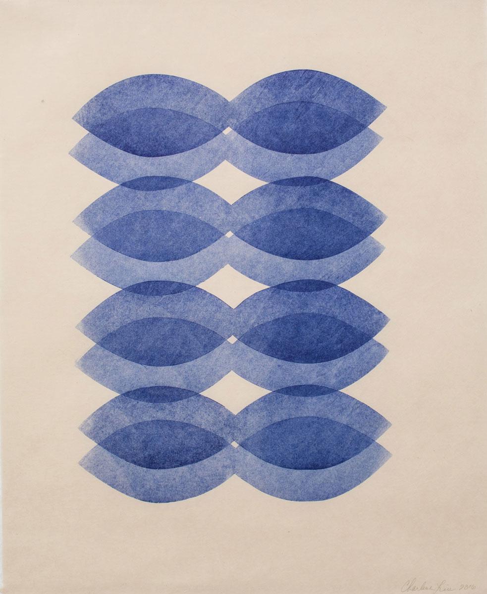 "Blues , 2016 woodcut on Kitakata paper 20.5 x 16.5"" paper 23 x 19.5"" framed"