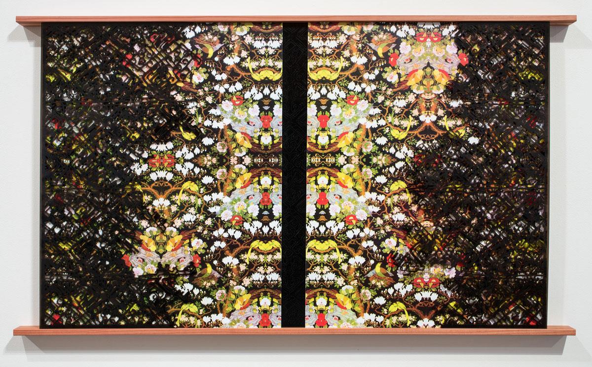 "Reflection , 2016 screenprint on aluminum, lasercut acrylic and wood 53.5 x 31 x 2.5"""