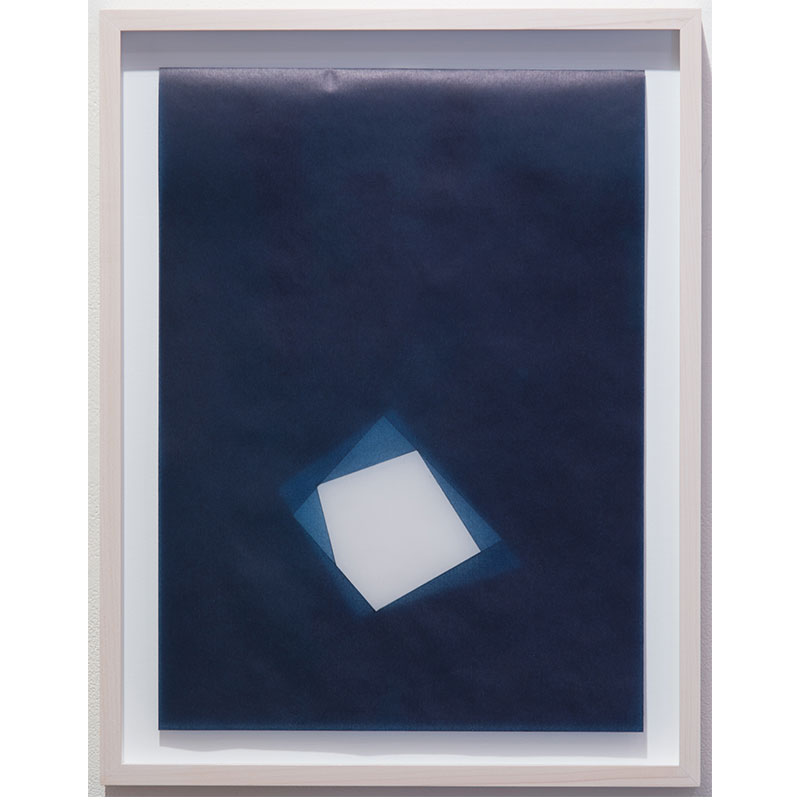 """Untitled, 2016-0816 , 2016 indigo pigment in wax on paper 18.5 x 14.5"""" framed  Inquire >"""