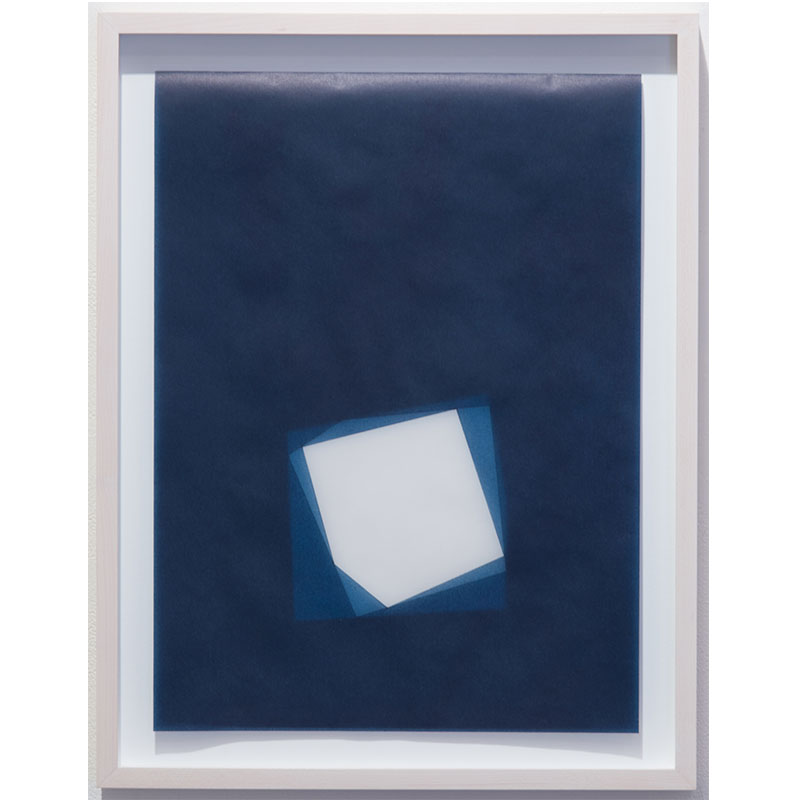 """Untitled, 2016-0818 , 2016 indigo pigment in wax on paper 18.5 x 14.5"""" framed  Inquire >"""