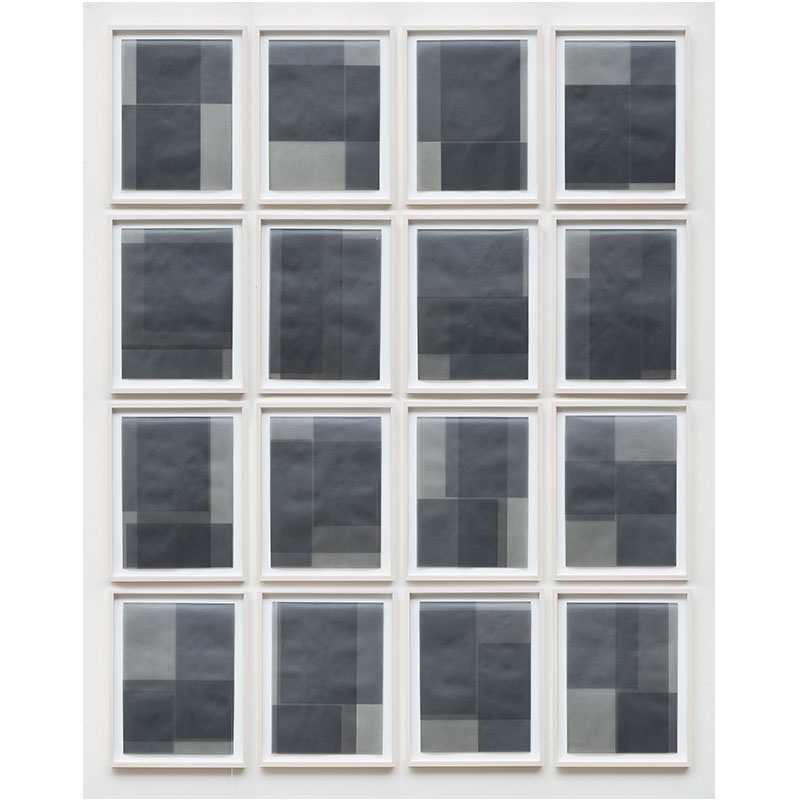"""Untitled, 2014-1205/1220 , 2014 suite of 16: graphite pigment in wax on paper 18.5 x 14.5"""" framed each 80 x 64"""" overall  Inquire >"""