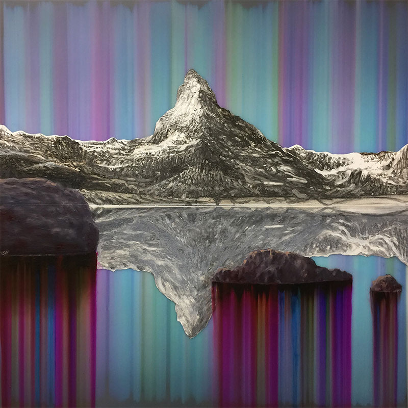 """Matterhorn (in Bitumen and Graphite), 2017 ballpoint pen, oil, and resin, on panel 24 x 24""""  Inquire >"""