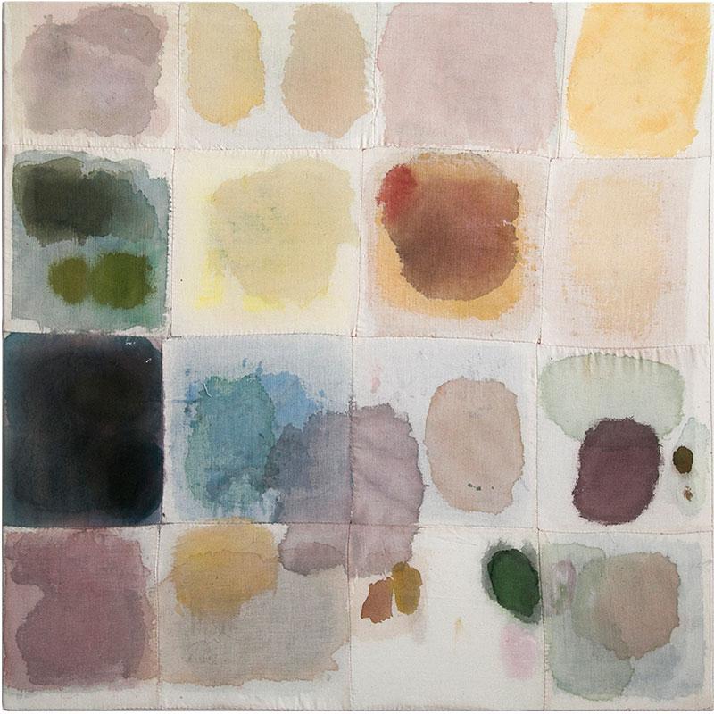 "Childhood , 2017 acrylic on artist hand sewn muslin 36 x 36""  Inquire >"