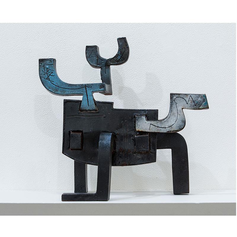 """Yako-Masu II , 2002 steel with paint 13.5 x 13 x 7.5""""  Inquire >"""