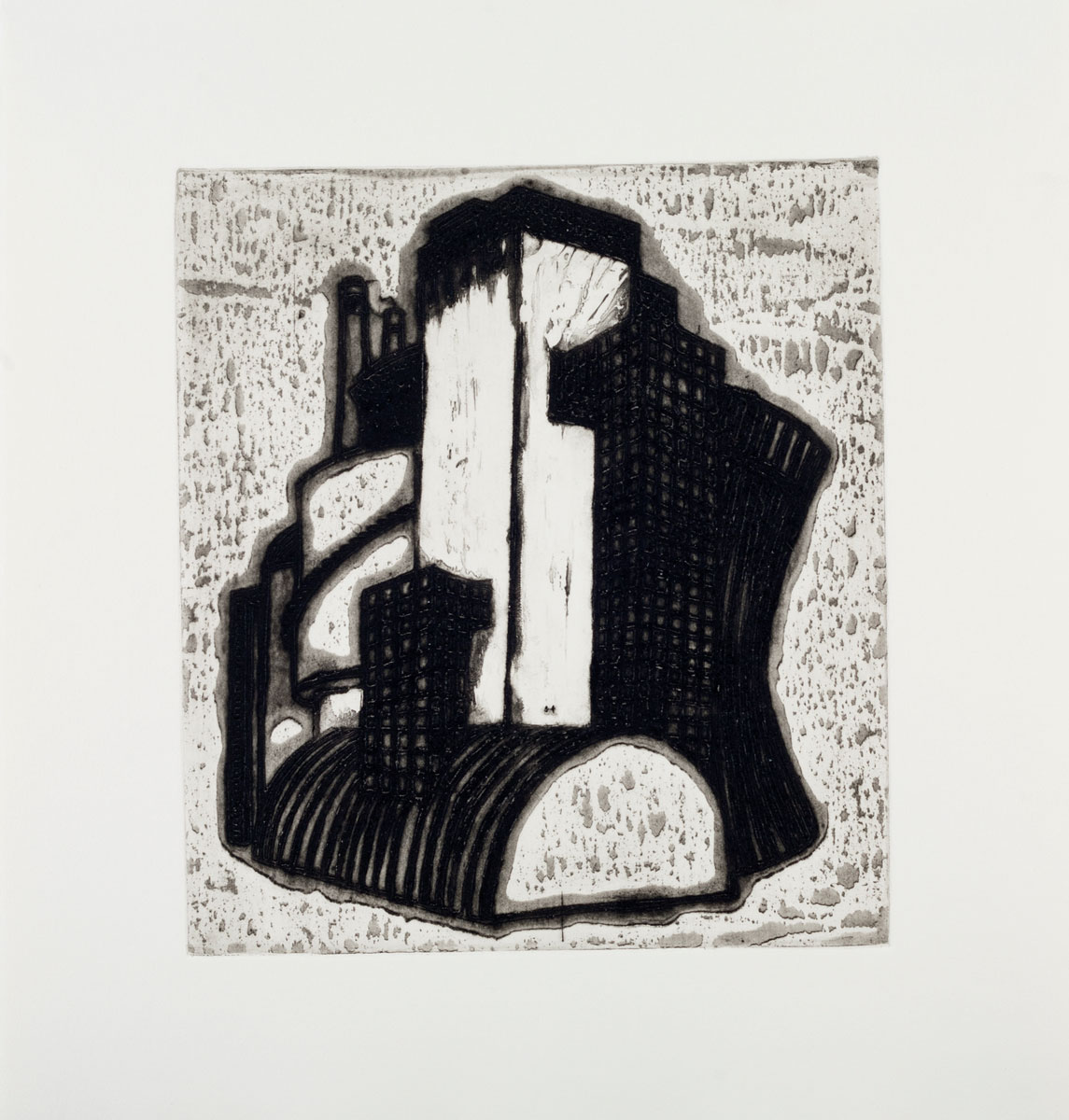 """Ideal Structures for a Dubious Future (Industrial Cluster) , 2012 explosive Intaglio 18.25 x 17.25"""" framed Edition of 12"""