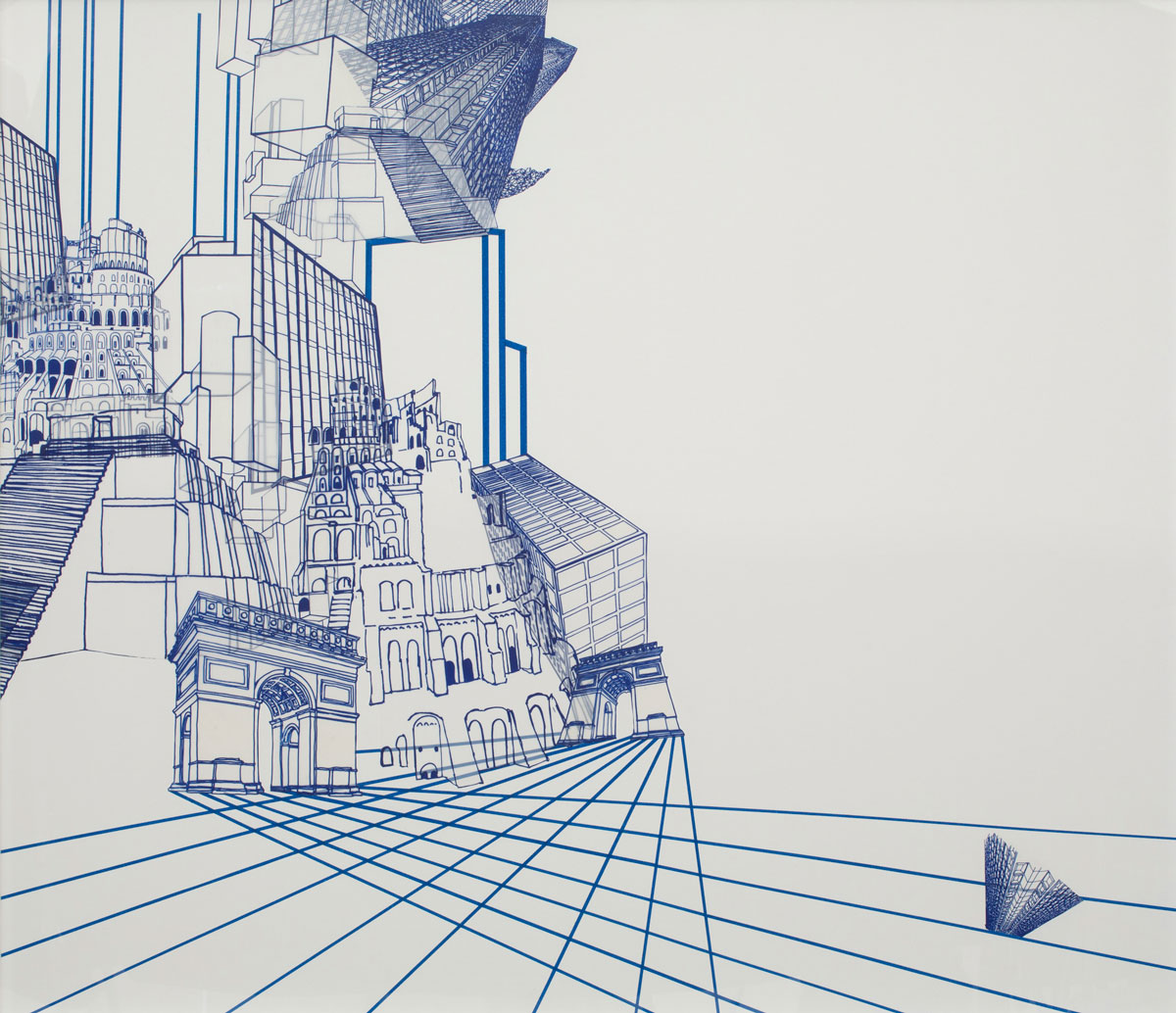 """The Babel Cycle - Still #4 , 2014 silkscreen and monotype on mylar, collage on archival foam core 39.75 x 45.5"""""""