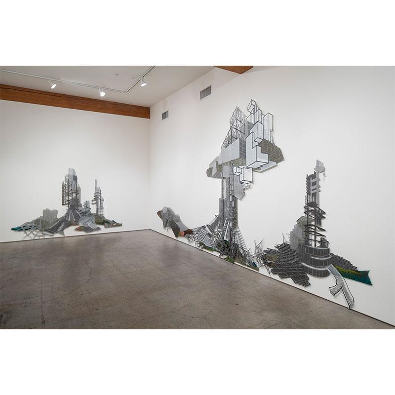 "Barren Lands Breed Strange Visions  , 2014 woodcut, montype and silkscreen on mylar 121 x 348""  Inquire >"