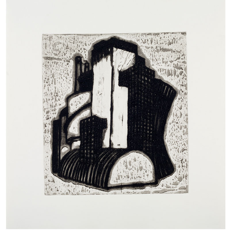 """Ideal Structures for a Dubious Future (Industrial Cluster) , 2012 explosive Intaglio 11 x 9.75"""" image 16 x 15"""" paper 18.25 x 17.25"""" framed Edition of 12  Inquire >"""