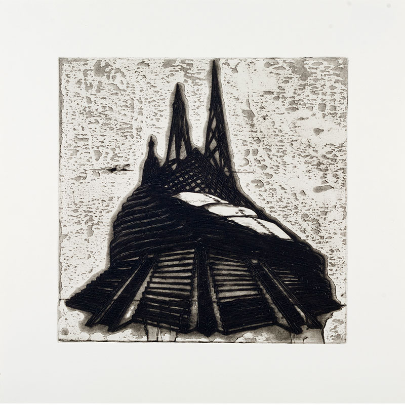 """Ideal Structures for a Dubious Future (Pyramid Temple) , 2012 explosive Intaglio 11.75 x 12"""" image 16.75 x 16.75"""" paper 19.25 x 19.25"""" framed Edition of 12  Inquire >"""