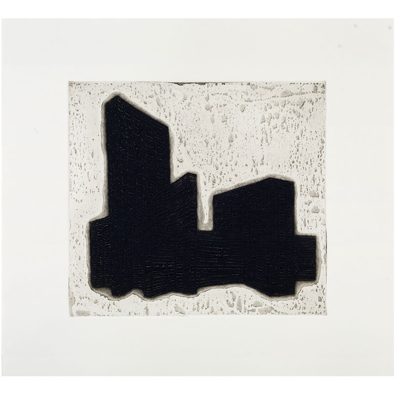 """Ideal Structures for a Dubious Future (Slab Complex) , 2012 explosive Intaglio 9 x 9.75"""" image 13.5 x 15"""" paper 16.25 x 17.25"""" framed Edition of 12  Inquire >"""