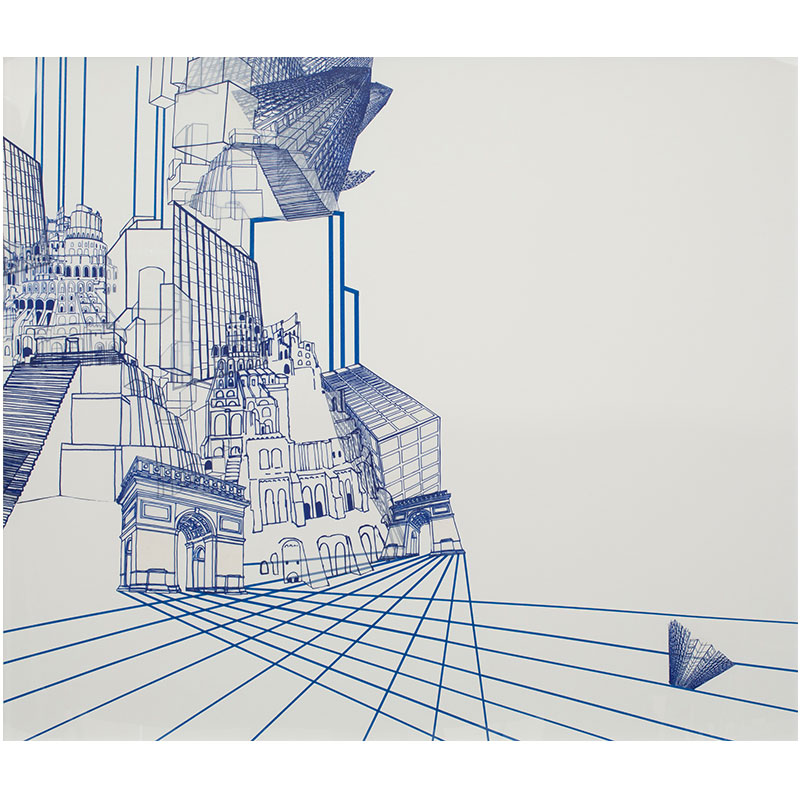 """The Babel Cycle - Still #4 , 2014 silkscreen and monotype on mylar, collage on archival foam core 39.75 x 45.5""""  Inquire >"""