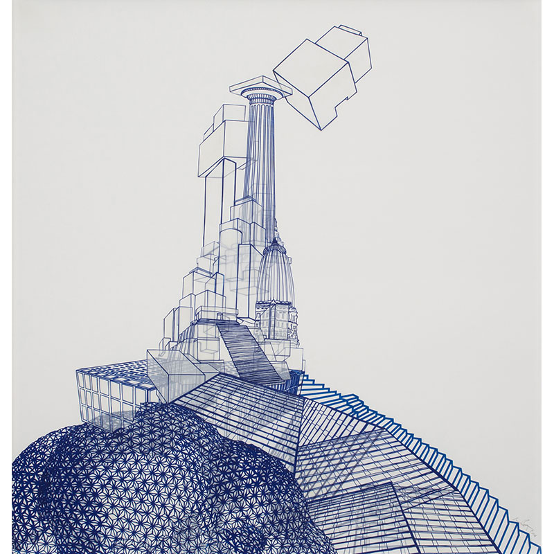 """The Babel Cycle - Still #2 , 2014 silkscreen on mylar, collage on archival foam core 36.75 x 34.75""""  Inquire >"""