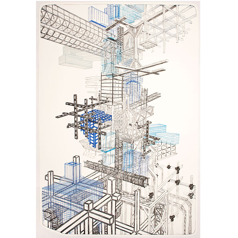 """Infrastructure #1 , 2012 5 color lithograph 43.75 x 29.5"""" paper 48.75 x 34.75"""" framed Edition of 12  Inquire >"""
