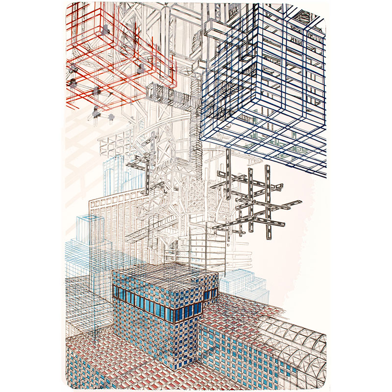 """Infrastructure #2 , 2012 7 color lithograph 43.75 x 29.5"""" paper 48.75 x 34.75"""" framed Edition of 12  Inquire >"""