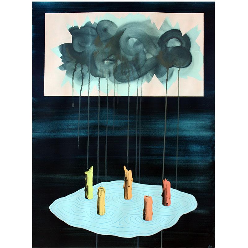 """Cruel Cloud , 2013 Flashe on paper 29.75 x 22""""  Inquire >"""