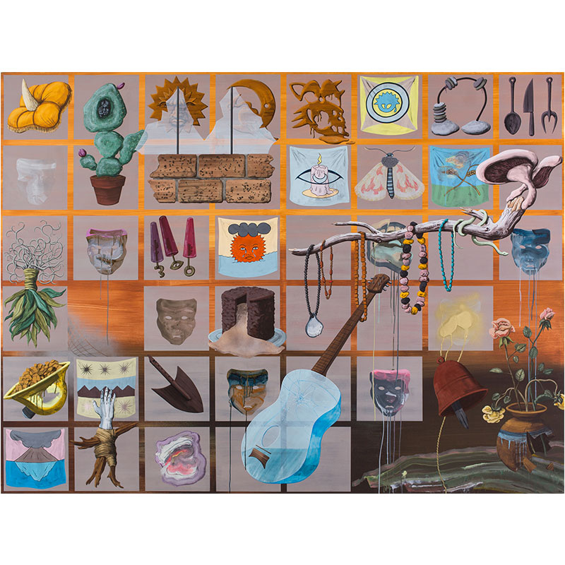 """Revisionist History , 2016 Flashe and spray paint on canvas over panel 72 x 96""""  Inquire >"""