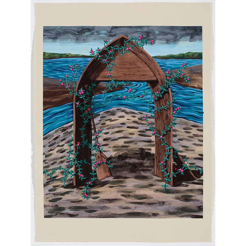 """The Seal of the Confluence , 2016 Flashe on paper 22 x 30"""" paper 35.5 x 27.5"""" framed  Inquire >"""