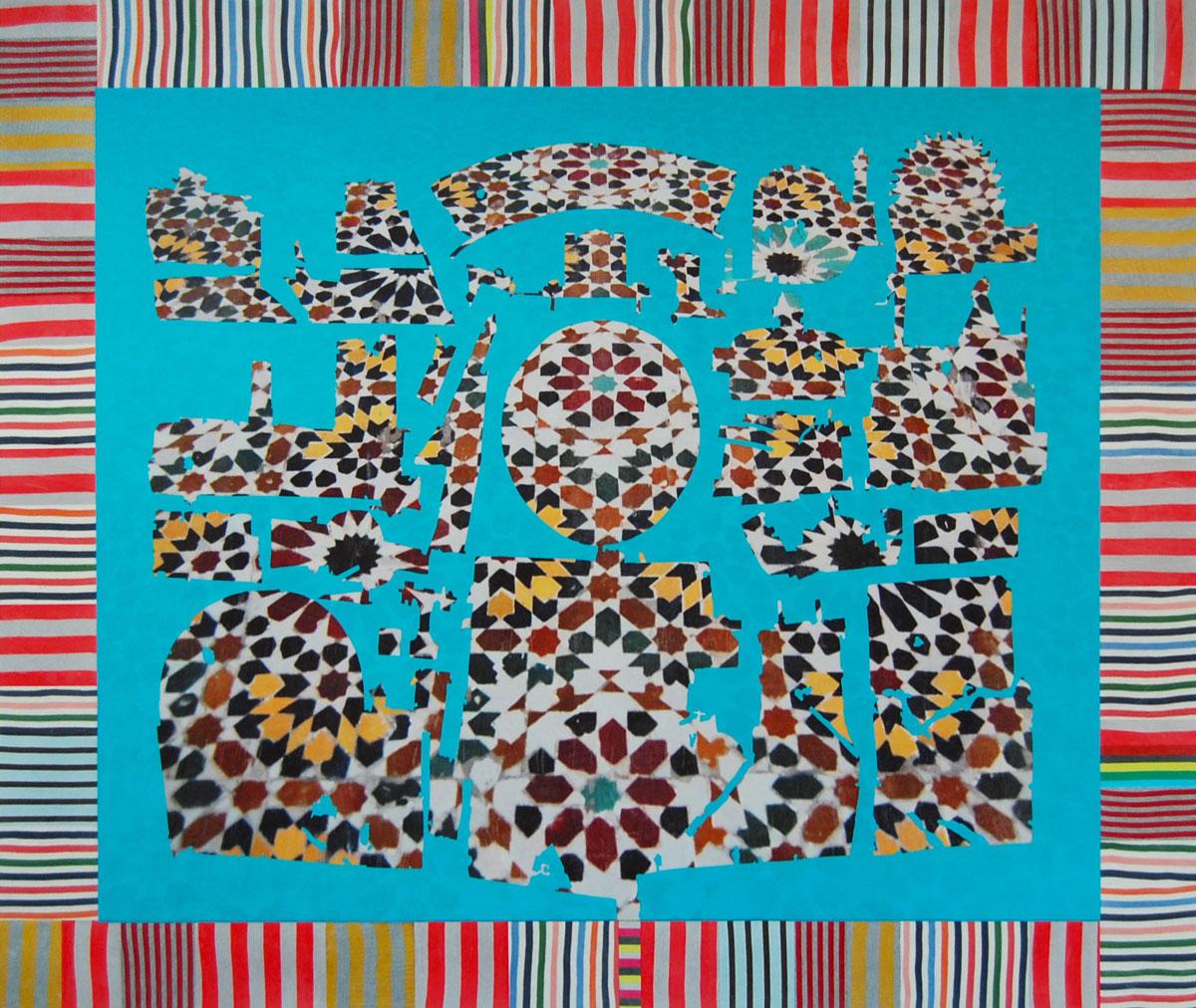 "Slumping Pavilion , 2012 fabric, paint and digital printing on wood panel 59 x 70"""