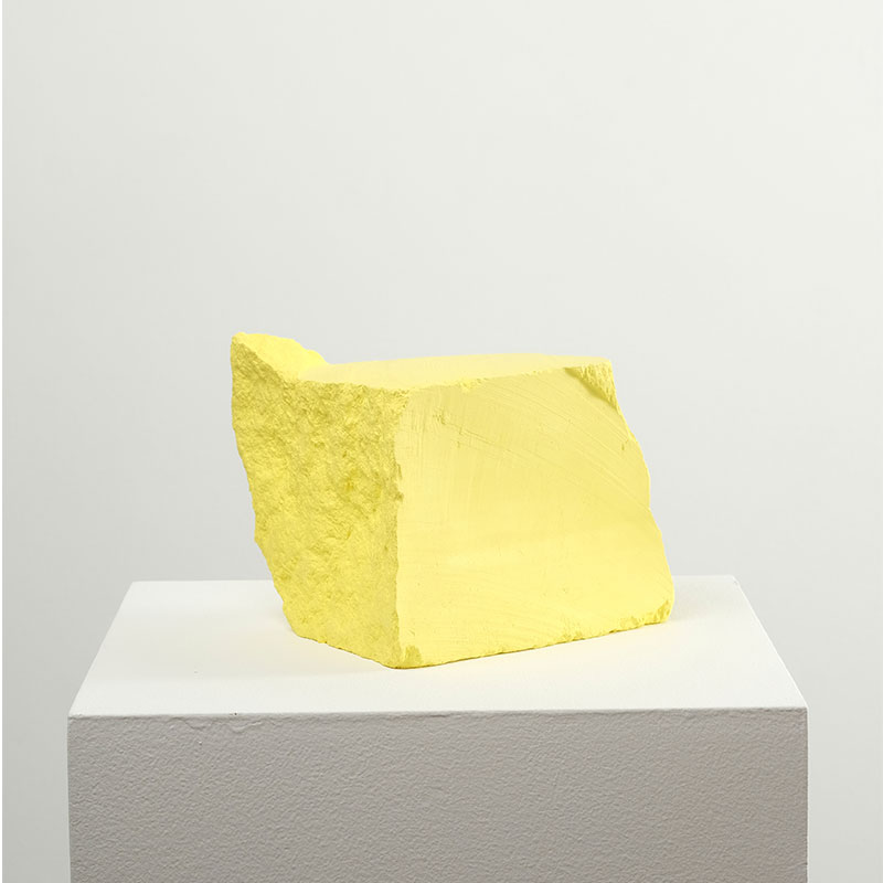 "Jeremy Hof   Yellow #2 , 2016 acrylic paint 6.5 x 5.5 x 5.5""  Inquire >"