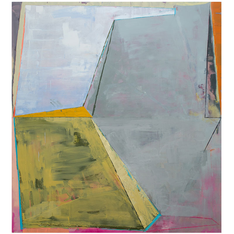 """Hinged Upon  , 2016 -17 oil, Flashe, spray paint, canvas, plasticized canvas, chalk, graphite on panel 68 x 62""""  Inquire >"""