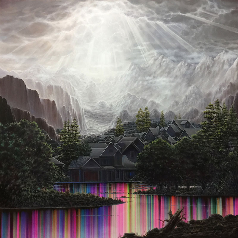 """Bierstadt Estates (Flooded) , 2017 ballpoint pen, oil, and resin, on panel 48 x 48""""  Inquire >"""