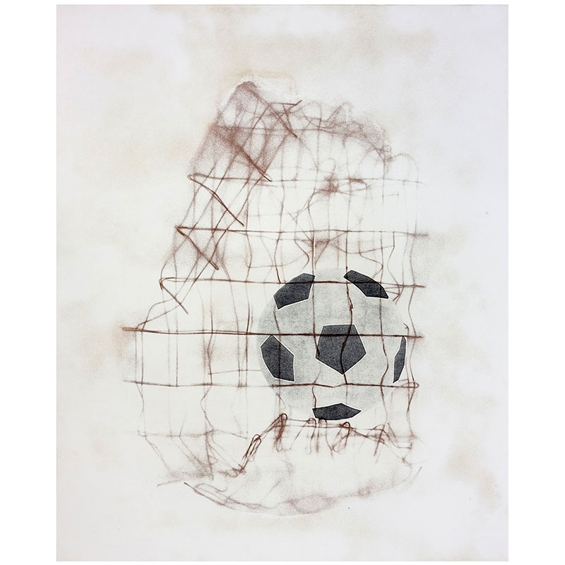"""Obstacles Before the Goal II , 2013 softground, aquatint and drypoint 32 x 27"""" image 40.5 x 34"""" paper Edition of 30  Inquire >"""
