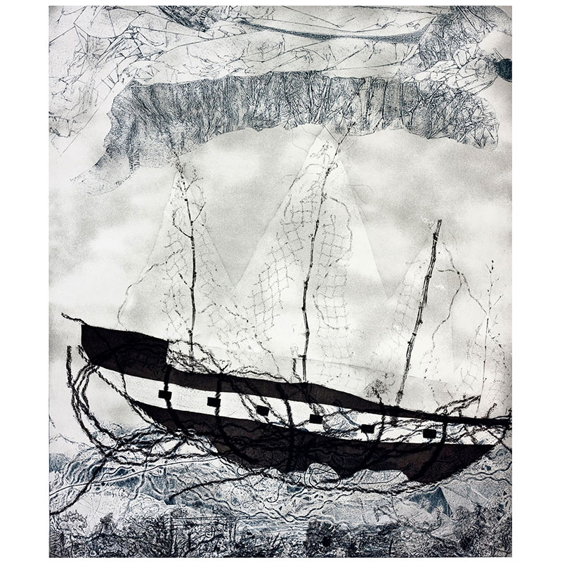 """Our Journey , 2013 softground, aquatint and drypoint 32 x 27"""" image 40.5 x 34"""" paper Edition of 30  Inquire >"""