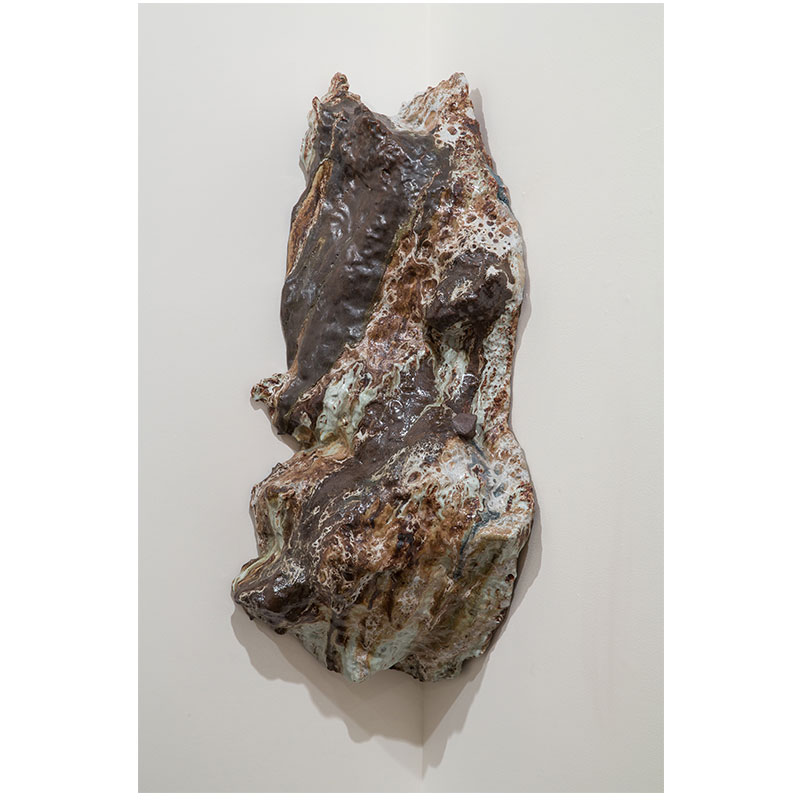 Brad Mildrexler   Untitled , 2013 clay glazed with basalt rock and shino glaze 40 x 17 x 12""