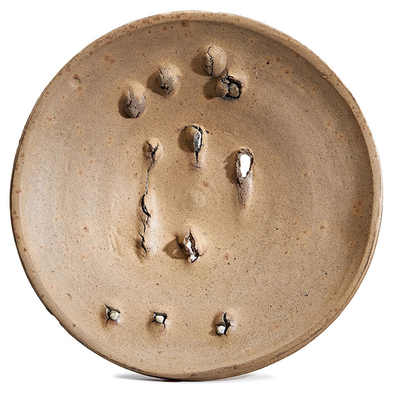 Peter Voulkos   Large Plate , 1975 stoneware with porcelain pass-throughs and partial cobalt oxide slip/glaze 20.5 x 20.5 x 4.5""