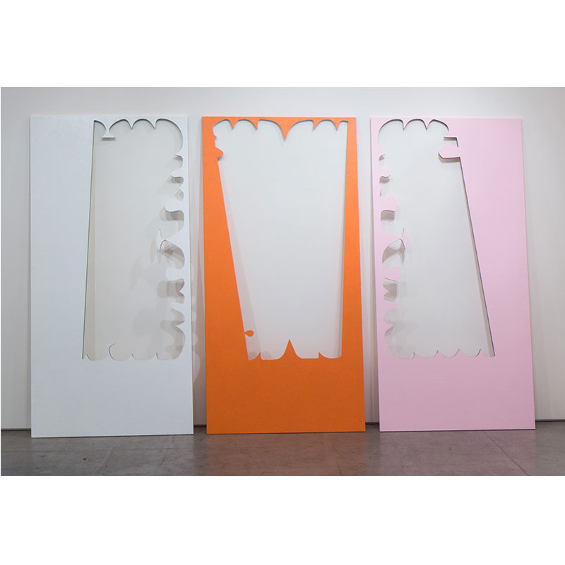 "Amanda Wojick   Cutout, July , 2017 wood, mulberry paper, paint 84 x 156"" (triptych, each 84 x 48"" )"