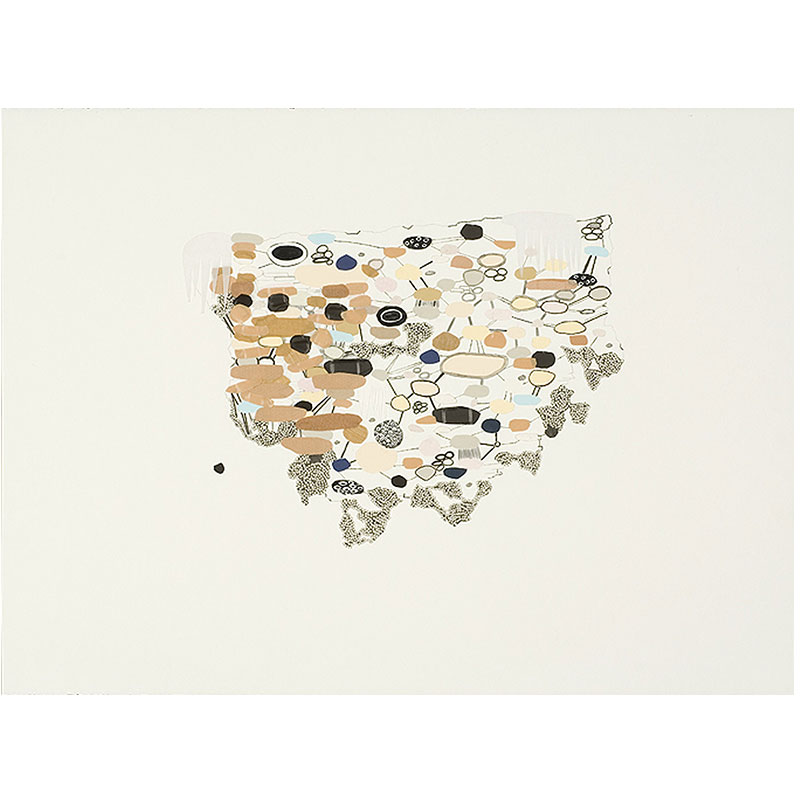 """Pale Cliff , 2007 ink, bandaids and graphite on paper 22.25 x 30"""" unframed  Inquire >"""