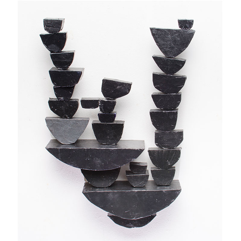 """Wall Stack, Black #2 , 2016 wood, collage, paint 19 x 13 x 3""""  Inquire >"""