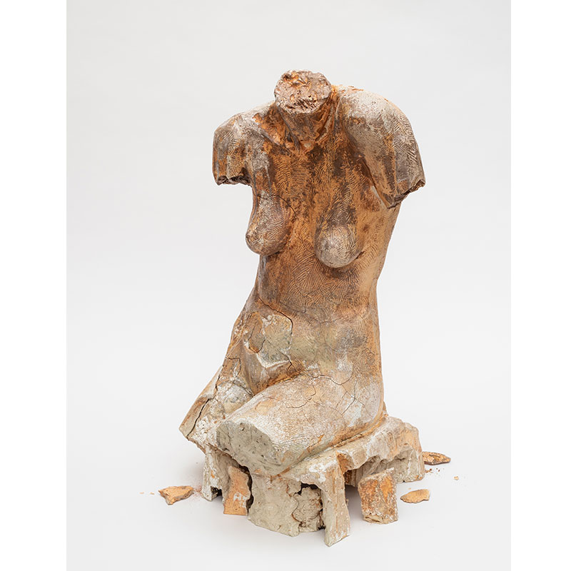 """32 Year Old Woman , 1986 bisque fired, 2018 glaze fired ceramic 28 x 15 x 14""""  Inquire >  SOLD"""