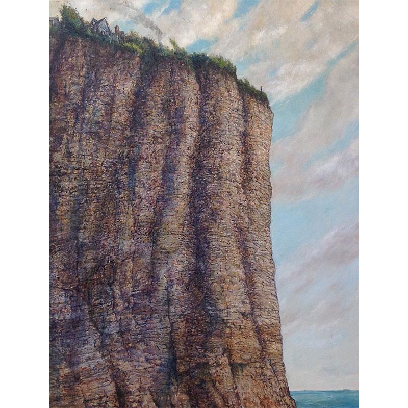 "Chester Arnold   Precipice , 2017 oil on linen 44 x 36"""