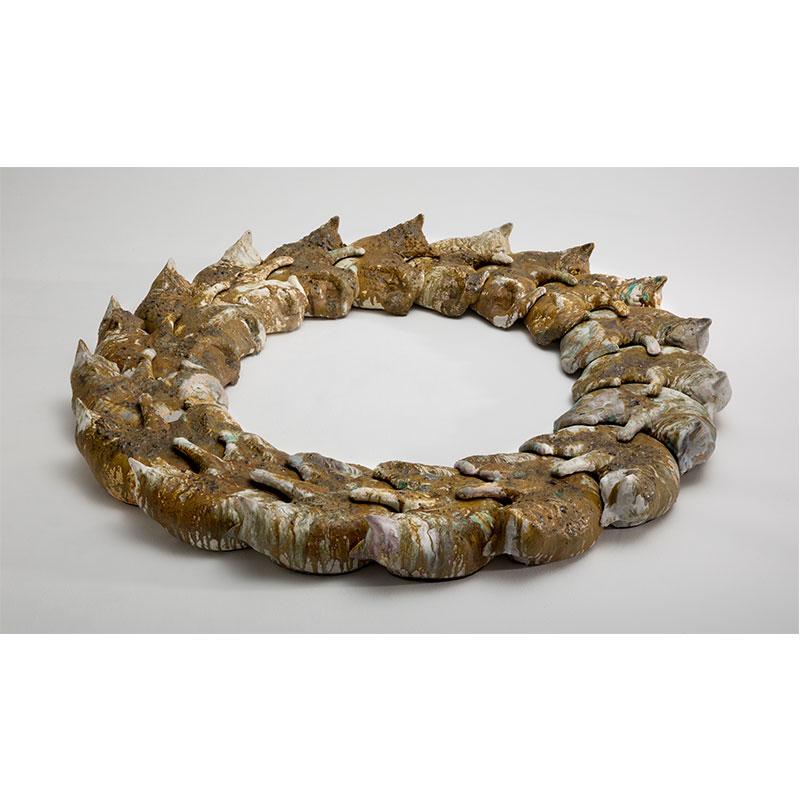 "Malia Jensen   Perfect Circle (Imperfect) , 2016 ceramic with glaze, concrete and glass 8.5 x 80 x 80"""