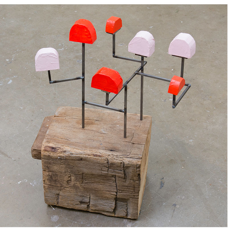 """Mulberry Bush, Pink and Red , 2017 wood, paper, steel, paint 24 x 12 x 12""""  Inquire >"""