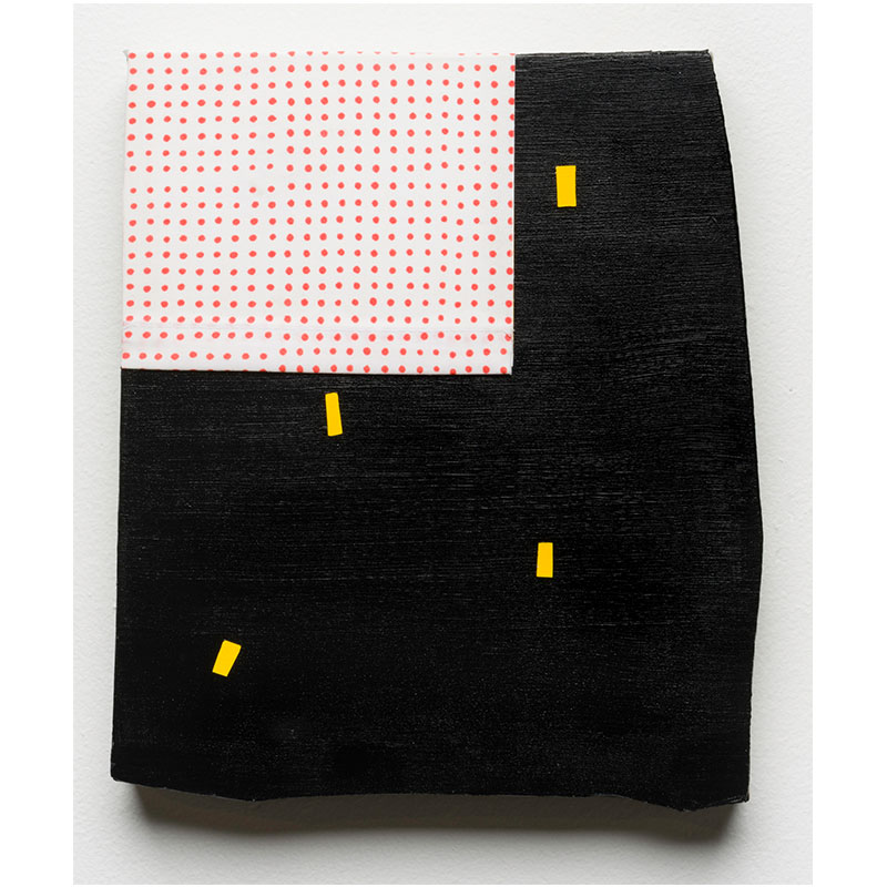 """Small Painting, Black and Yellow , 2017 acrylic and cotton on linen 10 x 8.5"""" SOLD"""