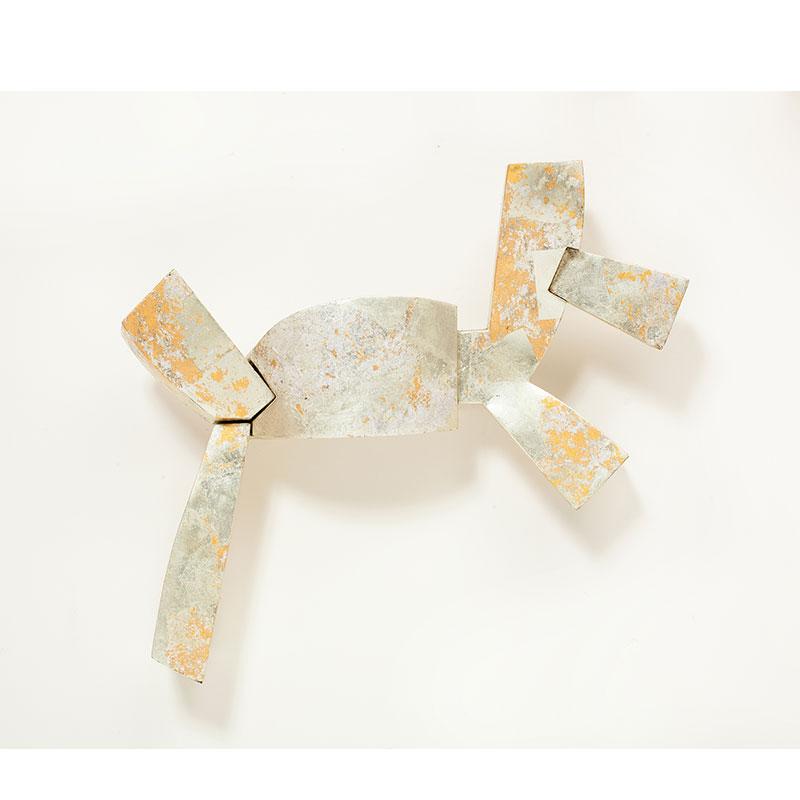 """Atacama III , 2012 gold leaf over welded steel 24.5 x 27 x 6.5""""  Inquire >"""