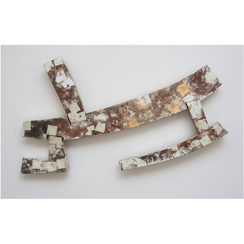 """Jaipur II , 2015 mild steel with gold and silver leaf 41 x 71 x 7.5""""  Inquire >"""