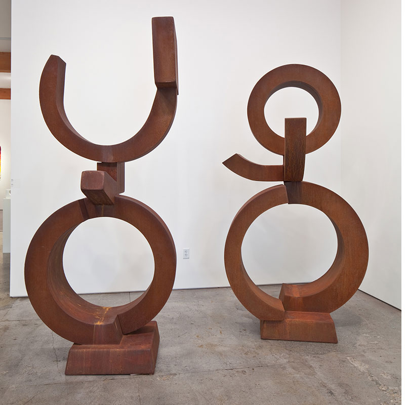 """Nepal I and II , 2011 Cor-ten steel 100 x 43 x 36"""" (left) 94 x 48 x 38"""" (right)  Inquire >  SOLD"""