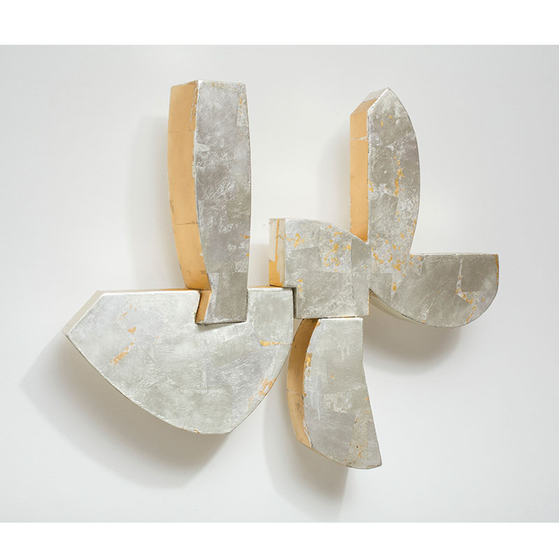 """Untitled - LK 873 , 2013 gold leaf over welded steel 28 x 35 x 6""""  Inquire >"""