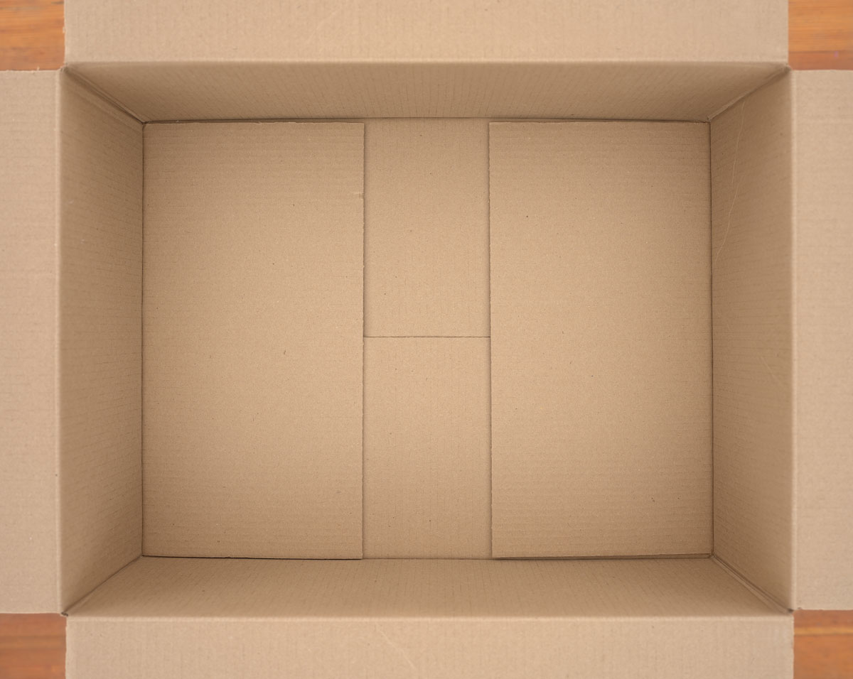 "Untitled (cardboard box) , 2018 photographic construction 34 x 42"" image 35.25 x 43.75"" framed Edition of 5, 2AP"