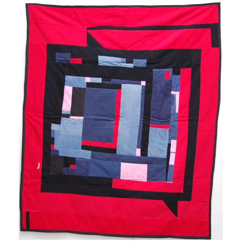 """Louisiana Bendolph   Housetop Variation , 2008 quilted fabric 76.5 x 65""""  Inquire >"""