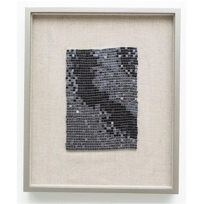 """Champagne Supernova , 2018 steel beads on linen 7 x 5"""" unframed 13 x 10.75"""" framed SOLD"""