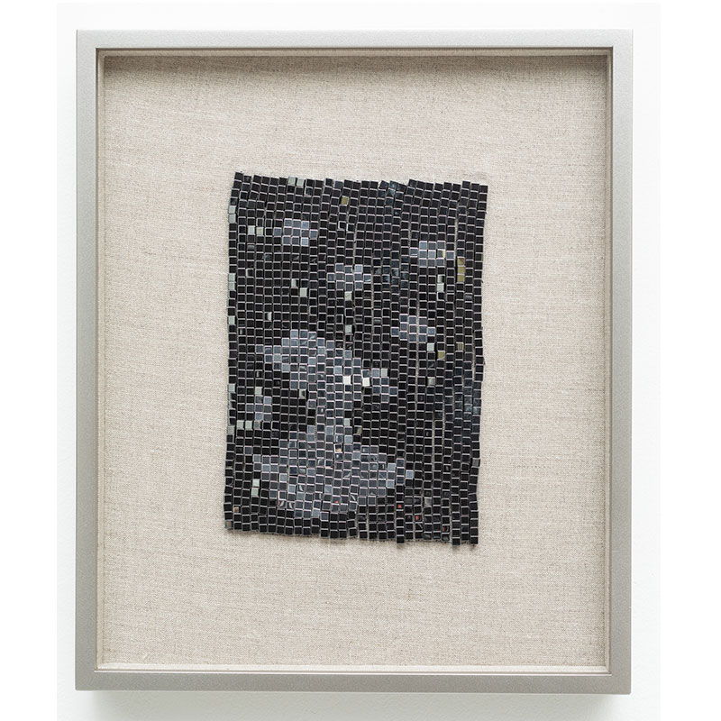 "Skyrockets in Flight , 2018 steel beads on linen 7 x 5"" unframed 13 x 10.75"" framed  Inquire >"