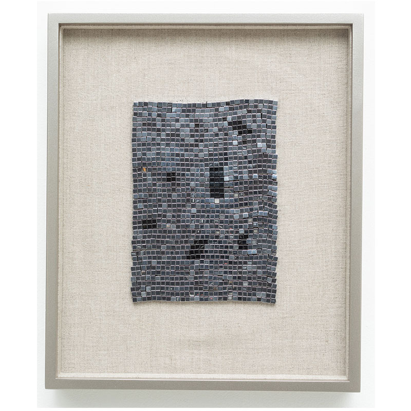 "Wandering Star , 2018 steel beads on linen 7 x 5"" unframed 13 x 10.75"" framed  Inquire >"