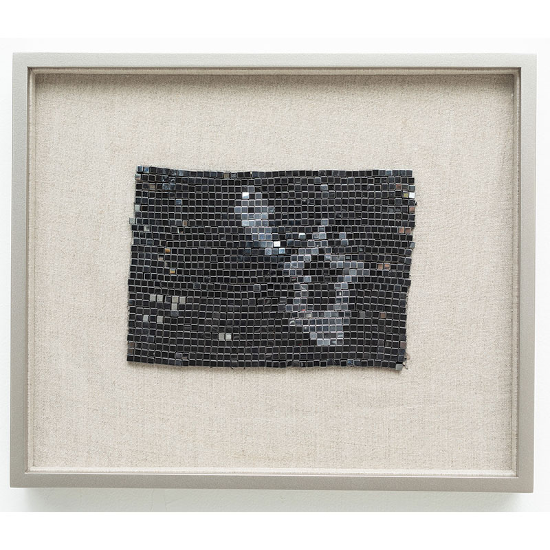 """2000 Light Years from Home , 2018 steel beads on linen 7 x 5"""" unframed 13 x 10.75"""" framed  Inquire >"""