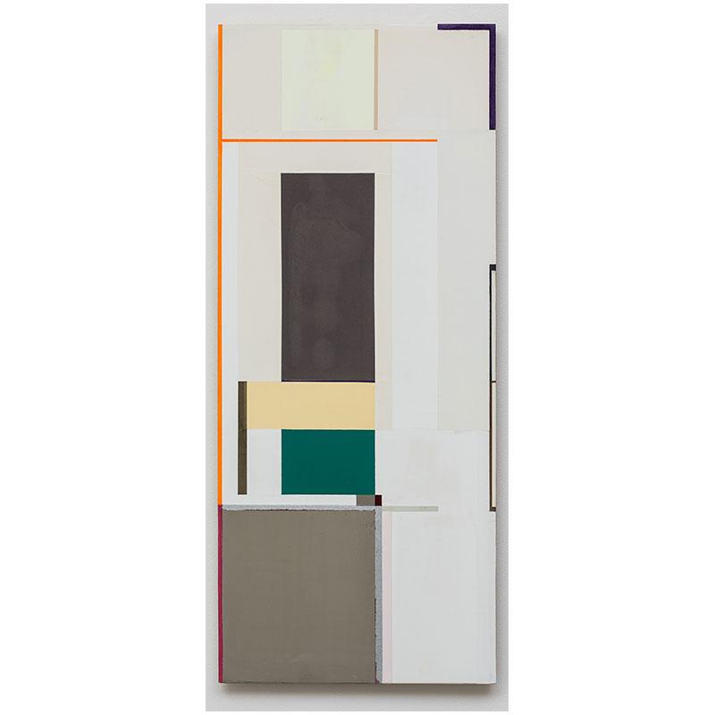 "rotator (West 1, 1,2,3,5,8...) , 2007-9 oil, aluminum, pewter, iron ore and florescent pigment on honeycomb aluminum panel 37 x 15.5"""